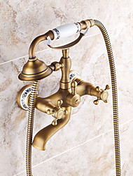 Handshower Included with Ceramic Valve Two Handles Two Holes for Antique Brass , Shower Faucet / Bathtub Faucet