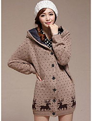 Women's Casual/Daily Simple Regular Cardigan,Print Notch Lapel Long Sleeve Cotton Winter Medium Micro-elastic