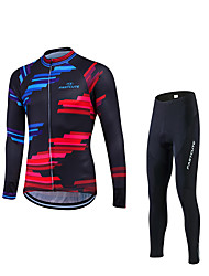 Fastcute Cycling Jersey with Tights Men's Long Sleeves Bike Clothing Suits Quick Dry Ultraviolet Resistant Breathable Compression 3D Pad
