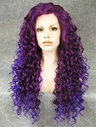 IMSTYLE 26''Awesome Mix Purple Long Curly Synthetic Wigs Lace Front On Sale Heat Resistant