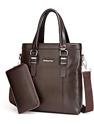 cheap -Men Bags PU Bag Set 2 Pieces Purse Set for Casual Formal Office & Career All Seasons Black Brown Light Brown