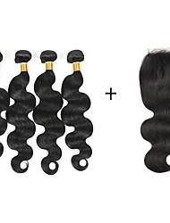 Недорогие -4 Связки Бразильские волосы Волнистый Натуральные волосы Человека ткет Волосы Ткет человеческих волос Расширения человеческих волос