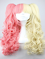 cheap -Famous Yellow and Pink Colorful Lolita Long Curly Two Braids Cosplay Lolita Wig