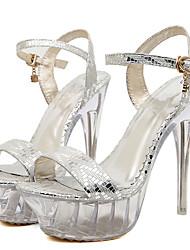 abordables -Mujer-Tacón Stiletto Plataforma Tacón de cristal-Plataforma-Sandalias-Boda Vestido Fiesta y Noche-PU-Plata Oro