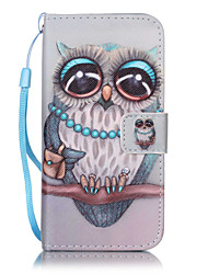 cheap -Case For Apple iPhone X iPhone 8 iPhone 5 Case iPhone 6 iPhone 7 Card Holder Wallet with Stand Flip Pattern Embossed Full Body Cases Owl