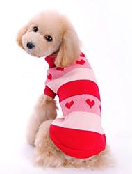 Gatto Cane Maglioni Abbigliamento per cani Fibre acriliche Primavera/Autunno Inverno Romantico Casual Cuori Rosso Blu Per animali