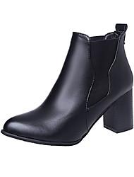 Damen Schuhe PU Winter Springerstiefel Stiefel Walking Blockabsatz Plateau Runde Zehe Elastisch Für Normal Schwarz