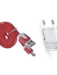economico -Kit caricabatterie caricatore domestico Presa EU 1 porta USB con cavo per il cellulare(5V , 1A)
