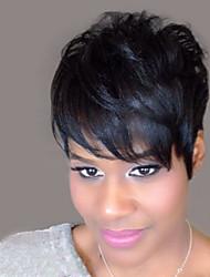 abordables -onduladas cortas pelucas de cabello natural humano para la mujer negro