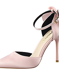 cheap -Women's Heels Spring Summer Fall Comfort Club Shoes Light Up Shoes Leather Dress Party & Evening Stiletto Heel Bowknot BuckleBlack Pink