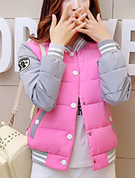 Famous Brand Design Women's Regular Padded CoatSimple Casual/Daily Solid-Polyester Polyester Long Sleeve Stand Pink / Black / Yellow