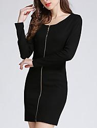 abordables -Gaine Robe Femme Décontracté / Quotidien / Soirée Sexy,Couleur Pleine Col Arrondi Au dessus du genou Manches Longues Noir Polyester