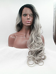 Sylvia Synthetic Lace front Wig Black Roots Grey Hair Heat Resistant Long Wavy Natural Look Synthetic Wigs