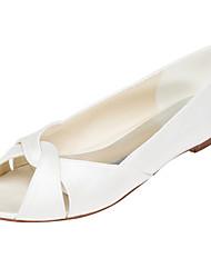 abordables -Femme Chaussures Satin Elastique Printemps / Eté Ballerines Talon Plat Bout ouvert Blanc / Ivoire / Mariage / Soirée & Evénement
