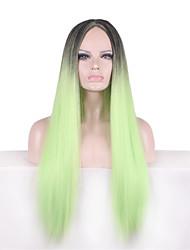 Donna Parrucche sintetiche Lisci Verde Capelli schiariti Parrucca naturale Parrucca di Halloween Parrucca di carnevale costumi parrucche