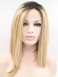 cheap -Sylvia Synthetic Lace front Wig Black Roots Strawberry Blonde Heat Resistant Middle Length Straight Bob Synthetic Wigs