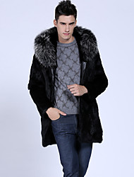 Men's Casual/Daily / Formal / Work Vintage / Street chic Hodded Fur Coat Solid Long Sleeve Winter Black Faux Fur Thick
