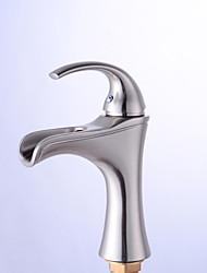Недорогие -Смеситель для раковины в ванной комнате - Водопад, никелированная, центральная часть, одна ручка