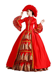 Victorian Rococo Women's One-Piece/Dress Red Cosplay Lace Cotton Poet Floor Length