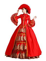 billige -Rokoko Victoriansk Kostume Dame Kjoler Festkostume Maskerade Rød Vintage Cosplay Blonde Bomuld Digter Gulvlang Lang Længde Balkjole / Blomstret