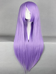 Promotion Saint Seiya Athena Saori Kido 80cm Long Straight Purple Anime Cosplay Wigs