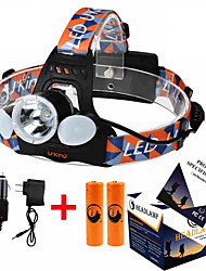 ZQ-X851 Headlamp Straps LED 6000ML Lumens 4 Mode Cree XM-L T6 2 x 18650 Batteries Adjustable Focus Compact Size High Power Easy Carrying
