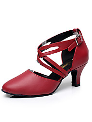 "cheap -Women's Latin Leather Sandal Practice Beginner Professional Indoor Performance Buckle Low Heel Black Red 1"" - 1 3/4"" Customizable"