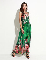 Women's Boho Holiday / Plus Size Boho Chiffon Dress,Floral Round Neck Maxi Sleeveless Green Polyester Summer