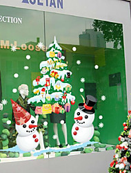 cheap -Christmas Shop Window Display White Snowman Color The Wall Stickers 50*70CM