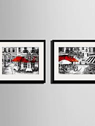billige -Landskab Indrammet Lærred / Indrammet Sæt Wall Art,PVC Sort Måtte Inkluderet med Frame Wall Art