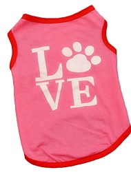 Cute Breathable Polyester LOVE Pink Vest Shirts for Pets Summer Dog Clothes