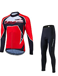 Fastcute Cycling Jersey with Tights Men's Long Sleeves Bike Clothing Suits Quick Dry Ultraviolet Resistant Breathable 3D Pad Reflective