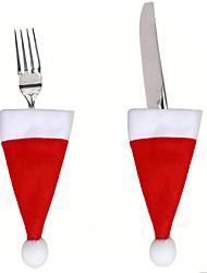 2pcs Lot Christmas Hat Cutlery Bag Xmas Santa Claus Hat Cutlery Tableware Holder Fork Spoon Knife Bag Cover