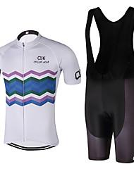 economico -Maglia con salopette corta da ciclismo Unisex Manica corta Bicicletta Set di vestiti Asciugatura rapida Design anatomico Resistente ai