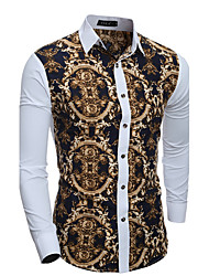 cheap -Men's Cotton Slim Shirt - Patchwork Print Classic Collar / Long Sleeve