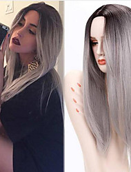 cheap -Synthetic Wig Straight Middle Part Heat Resistant Dark Roots Ombre Hair Gray Women's Capless Natural Wigs Long Synthetic Hair Daily