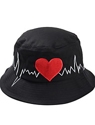 cheap -Women Casual Love Heart ECG Cartoon Embroidery Circular Folding Fisherman Cap Basin Beanie Hat