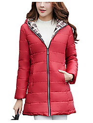 New Arrival Women's Long Padded CoatSimple Casual/Daily Solid-Polyester Polyester Long Sleeve Hooded Pink / Red / Black