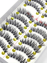 cheap -10 Eyelashes lash Full Strip Lashes Eyelash Crisscross Natural Long The End Is Longer Natural Handmade Fiber Transparent Band 0.07mm