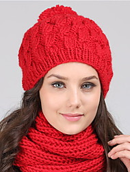 cheap -Women Winter Casual Outdoor Solid Color wool warm Hairball Twist knitting hedging cap