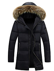 cheap -Men's Long Padded Coat,Casual Daily Solid-Polyester Cotton Long Sleeves Hooded