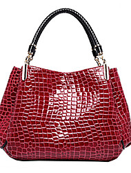 Women Bags All Seasons Patent Leather Tote for Formal Office & Career Black Dark Blue Dark Red