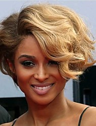 cheap -Short Wavy Hair Auburn and Blonde Color Synthetic Wigs for Women