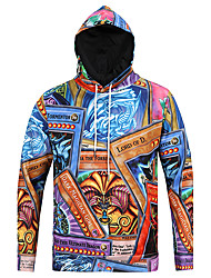 cheap -Men's Daily Casual Hoodie Leopard Round Neck Micro-elastic Polyester Long Sleeve Fall