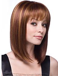 Недорогие -Парики из искусственных волос Жен. Прямой С чёлкой Искусственные волосы Парик Каштаново-коричневый Светло-русый
