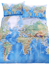 cheap -BeddingOutlet World Map Bedding Set Vivid Printed Blue Bed Cover Twill Cozy Home Textiles Multi Sizes 3pcs