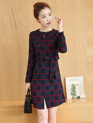 Women's Going out Street chic Sheath Dress,Plaid Round Neck Above Knee Long Sleeve Blue / Red Cotton / Nylon Fall