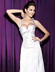 Women Underbust Corset Nightwear,Sexy / Push-Up Solid-Medium Polyester White / Black Women's