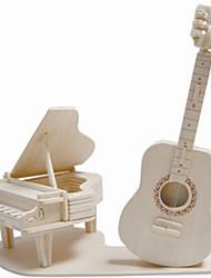 Quebra-cabeças Quebra-Cabeças de Madeira Blocos de construção DIY Brinquedos Instrumentos Musicais 1 Madeira Ivory