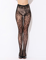 abordables -ropa de dormir elegante de las mujeres& pantimedias pantimedias loungewear pantyhose, nylon print sexy negro